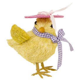 Picture of Sisal Chick with Polka Dot Hat- 4 in.