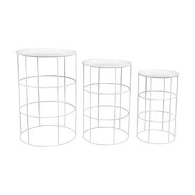 White Round Metal Drum Plant Stand- Large (Sold Separately)