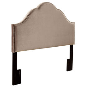 Picture of Glamour Studded Headboard- Queen Size Grey Velvet