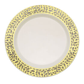 Picture of Ivory Plate with Gold Cutout Design- Set of 10