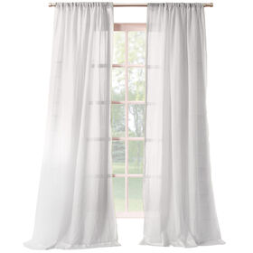 Picture of White Lourdes Crushed Sheer Window Curtain Panel 95-in