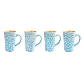 Picture of Blue decorative mug, 4 Assorted- 17-oz