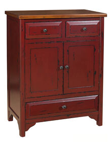 Picture of Red 3-Drawer Antique Wood Cabinet 35-in