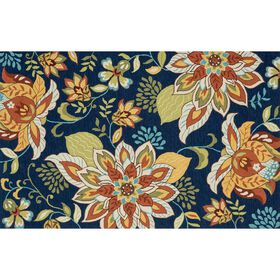 Picture of A131 Dark Blue Floral Rug