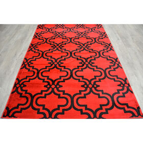 Picture of Red and Black Trellis Rug 3 X 5 ft