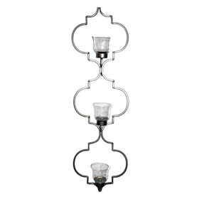 Picture of Quatrefoil Three Candle Metal Wall Holder