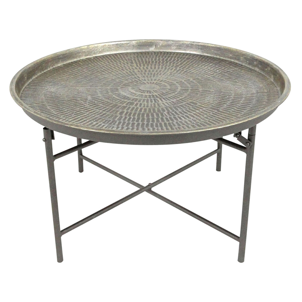 round metal coffee table - at home