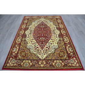 Picture of B33 Ivory and Red Traditional Rug