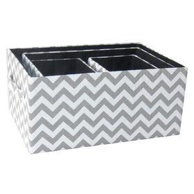 Picture of Small Grey Fabric Rectangular Chevron Basket