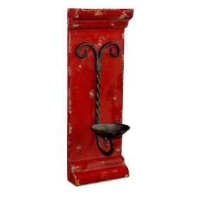 Picture of Red Distressed Wall Candle Holder Sconce - 19 in.