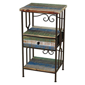 Picture of Three Tier Wood and Metal Table with One Drawer - 30 in.