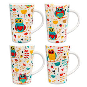 Picture of Vintage Owl Latte Mug- 14oz- Assortment of 4