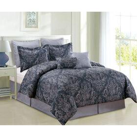 Picture of Black Damask Kaydence Comforter Set Queen- 8 Piece