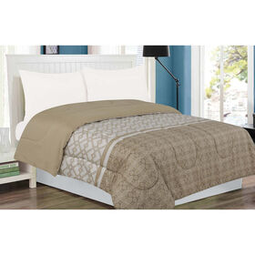 Picture of King Size Tan Geometric Revers Comforter