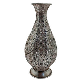 Picture of Silver Metal Cut Out Vase- 12-in
