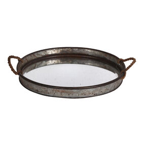 Picture of Glass Top Galvanized Tray with Rope Handles 17-in