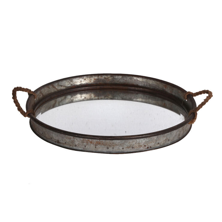Glass Top Galvanized Tray with Rope Handles 17-in