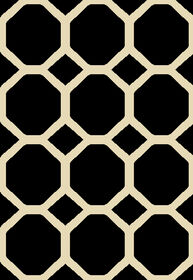 Picture of Black and White Basic Octagon Rug 3 X 5 ft