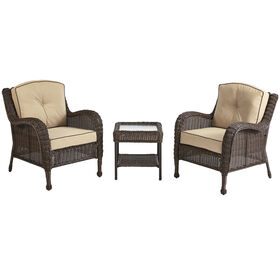 Picture of Brown Grand Isle 3 Piece Wicker Chair and Table Set