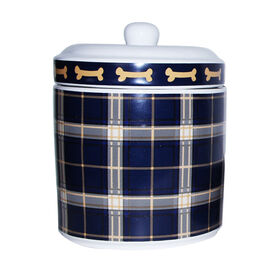 Picture of Navy and Brown Plaid Ceramic Treat Jar for Dog Treats