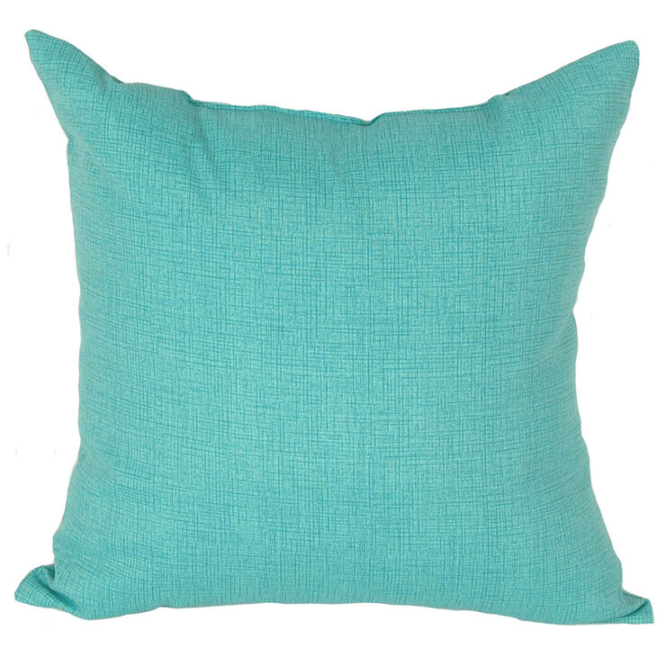 Teal Peacock Square Outdoor Pillow