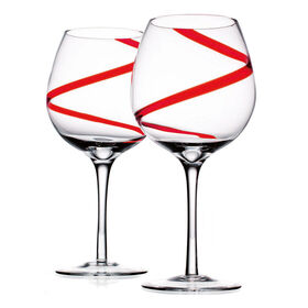 Picture of Red Swirl Balloon Wine Glasses, Set of 4