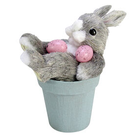 Picture of Bunny With Eggs In Blue Pot - 6.9 in.