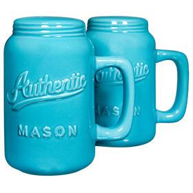 Picture of Authentic Mason Jar Salt and Pepper Shaker Set - Aqua