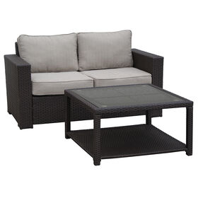 Picture of San Clemente 2 Piece Wicker Settee and Coffee Table Set