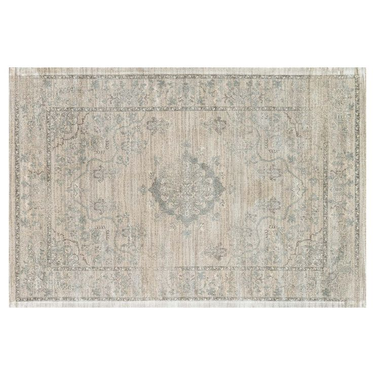 A218 Beige and Blue Traditional Rug- 5x7 ft