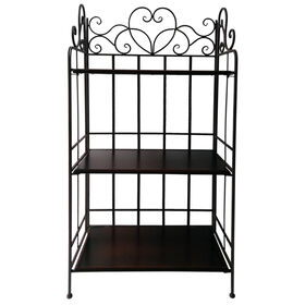 Picture of 3-tier Heart Scroll Metal and Wood Bakers Rack