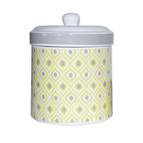 Picture of Choctaw Ikat Pattern Grey & Yellow Ceramic Treat Jar