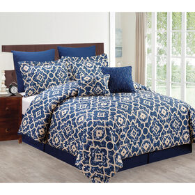 Picture of Navy Tess Comforter Set Queen- 8 Piece