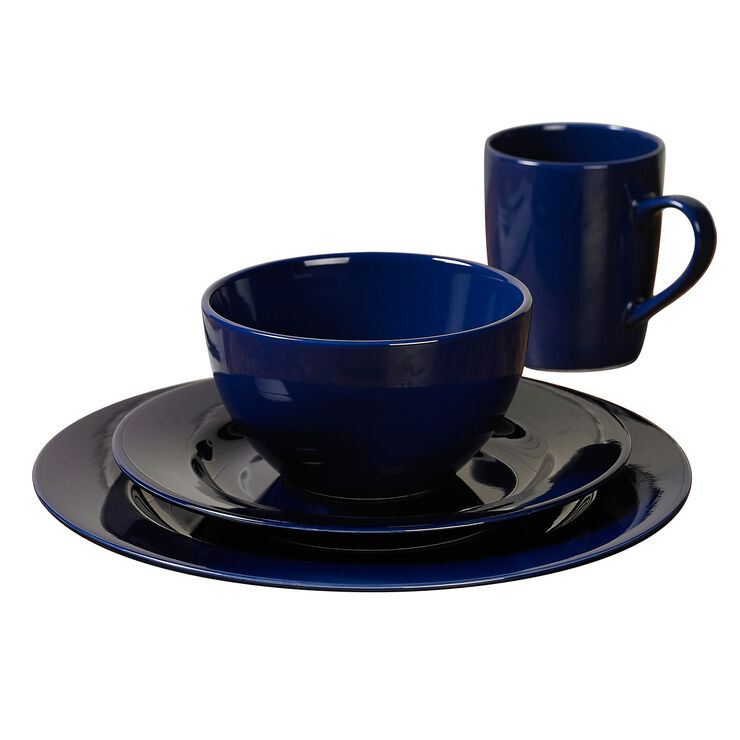 16-Piece Round Ceramic Dinnerware Set, Cobalt Blue