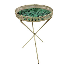 Picture of Folding Round Metal and Glass Table- 25-in