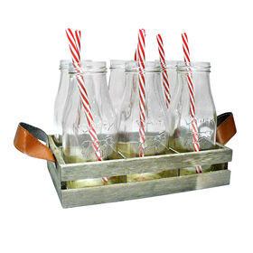Picture of 7 Piece Milk Bottle Wood Tray Set