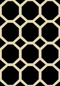 Picture of Black and White Basic Octagon Rug- 8x10 ft
