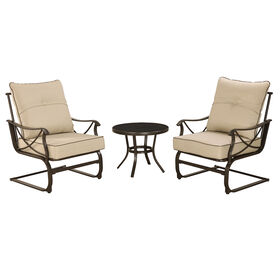 Tan Brown Brunspark Spring 3 Piece Chair and Table Set