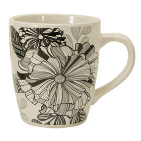 Picture of 25 oz Latte Mug - Black and White Flowers