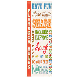 Picture of 12 X 36-in Playroom Rules Typography Children's Studio Art