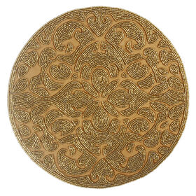 Picture of 14-in. Round Beaded Charger, Gold
