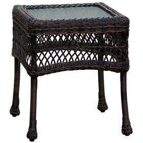Dark Brown Wicker End Table