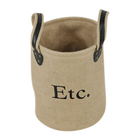 Picture of Round Burlap Basket with Ear Handles - Small