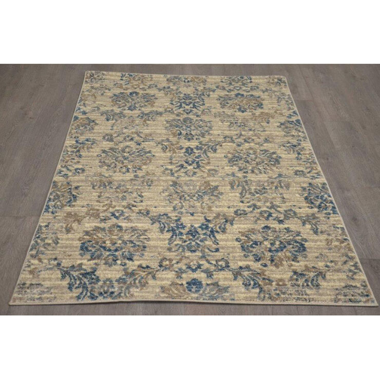 B304 Ivory and Blue Antique Rug- 5x7 ft