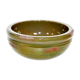 Picture of Green Ceramic Ridged Bowl - 9.25 in.