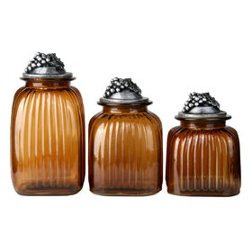 Picture of Amber Glass Canister with Grapes Lid - Set of 3