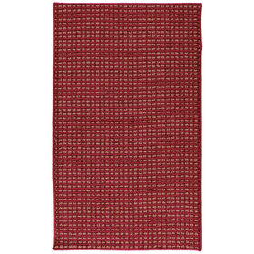 Picture of Red and Beige Gridlock Accent Rug 21 X 34-in