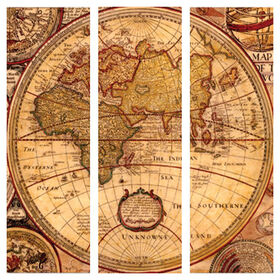 Picture of 30 X 30-in World Map Gallery Art- 3 Piece
