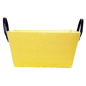 Picture of Yellow Rectangle Fabric Basket with Leather Handles