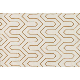 A296 Ivory and Gold Geometric Rug- 5x8 ft